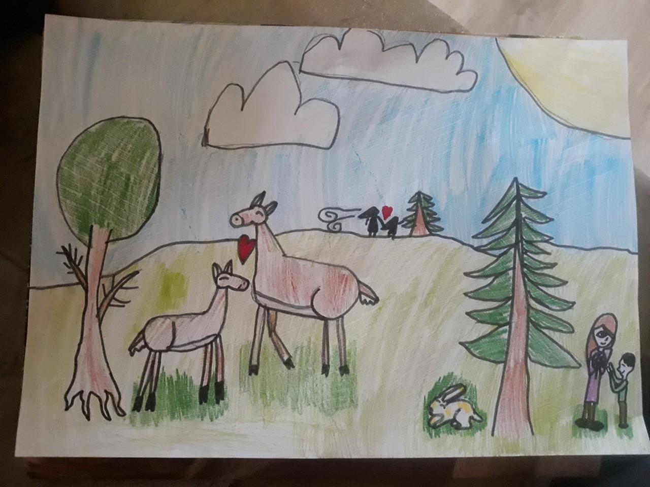 Johanna Väli 8 aastane vahva kompositsioon loomadega