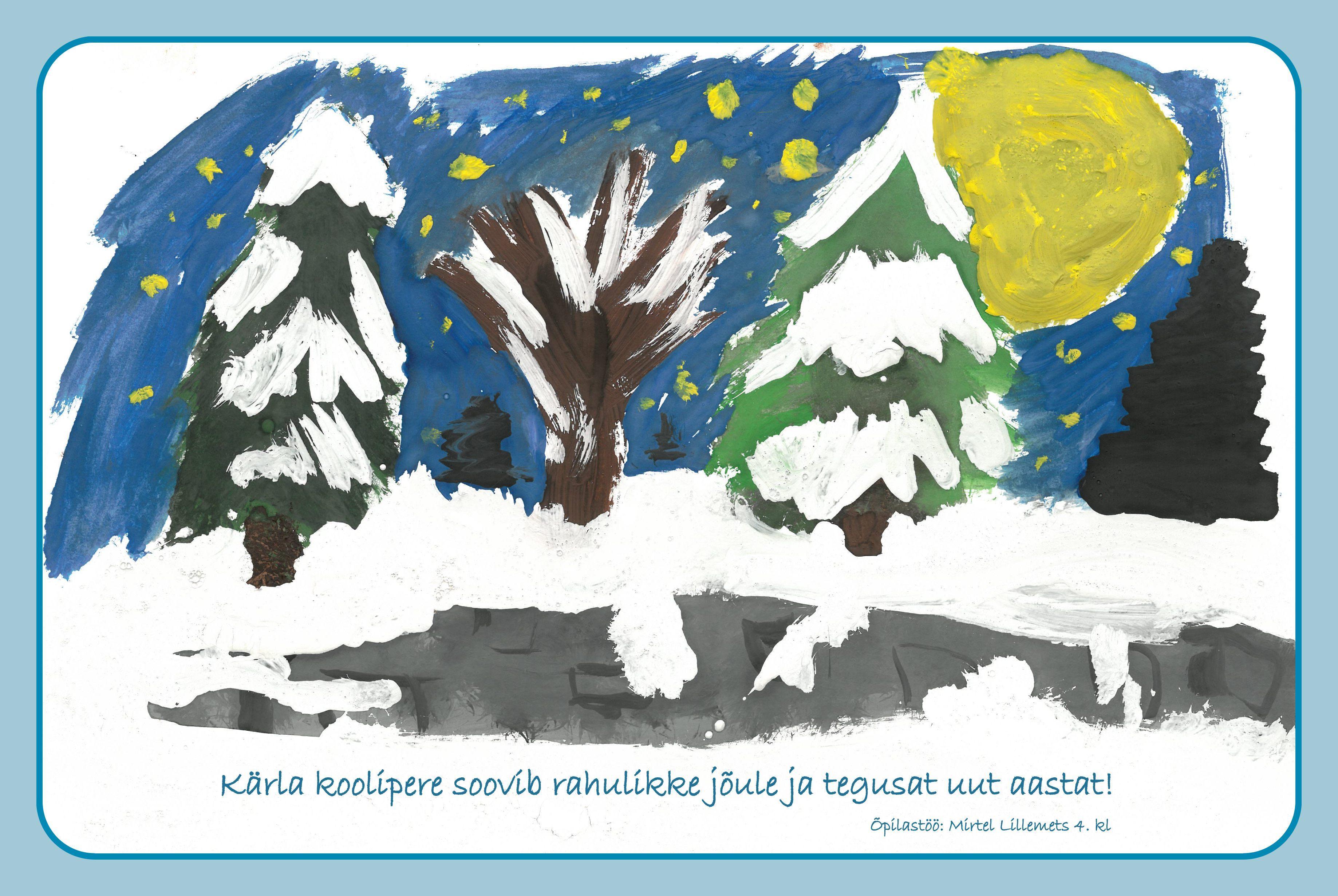 Jõulukaart. Õpilastöö Mirtel Lillemets 4. klass